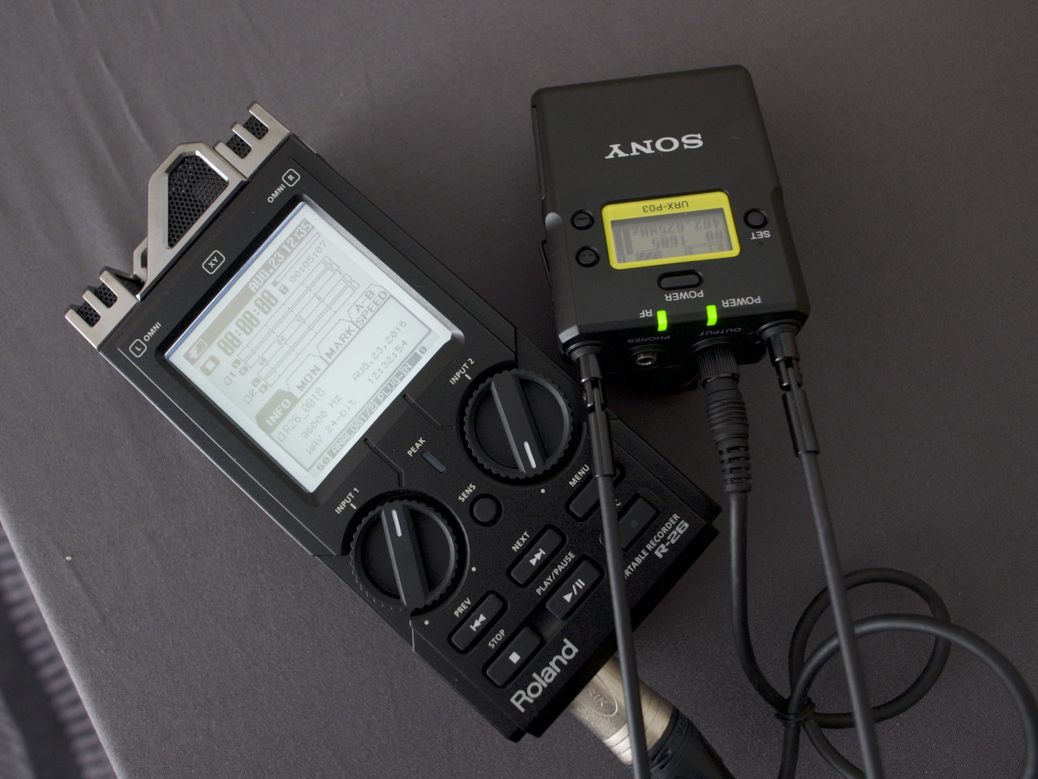 Behind the scenes interview wireless mic audio setup for external recording on Roland R26