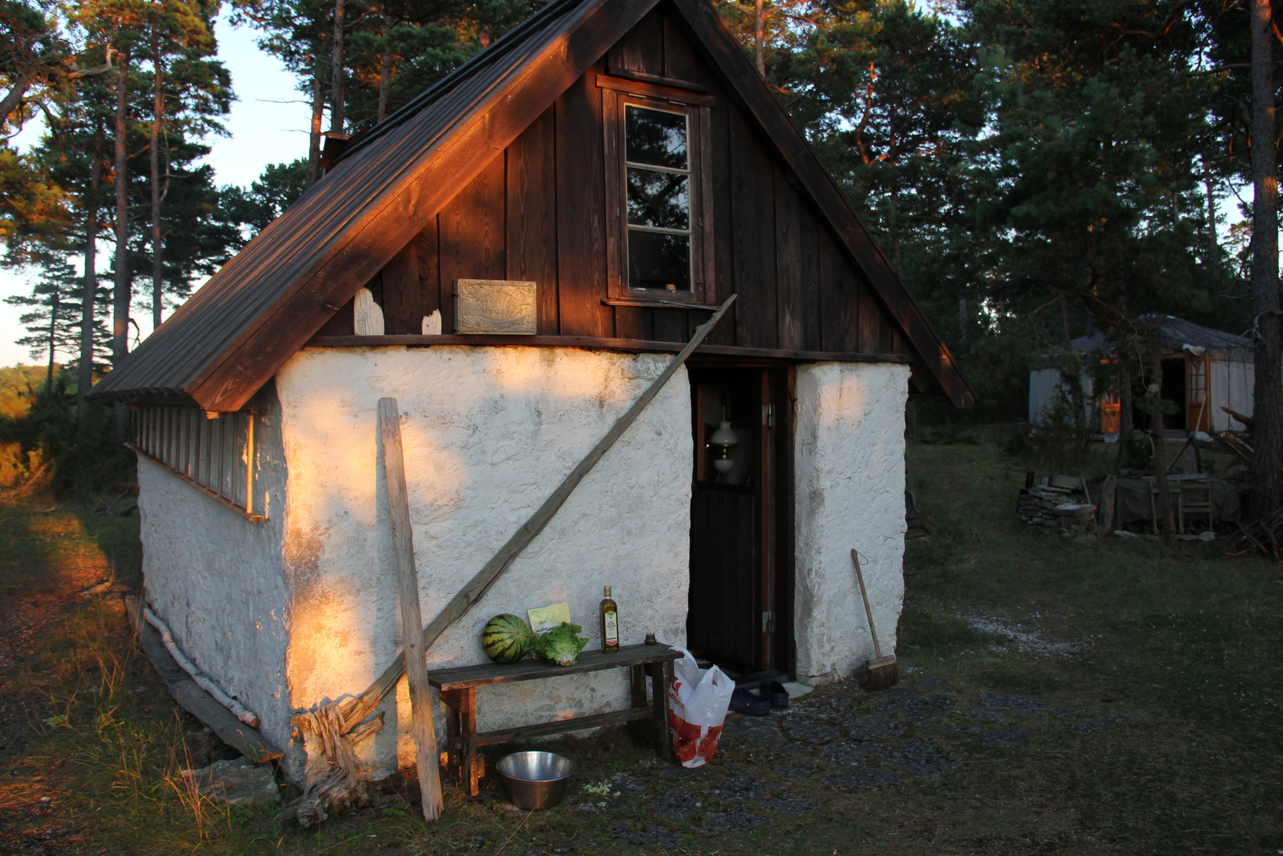a stugan is a tiny cottage in sweden where work and play are jumbled into daily living.