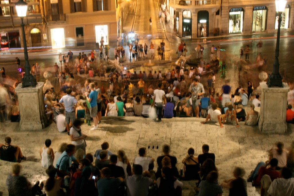Movement on the Spanish Steps at night.