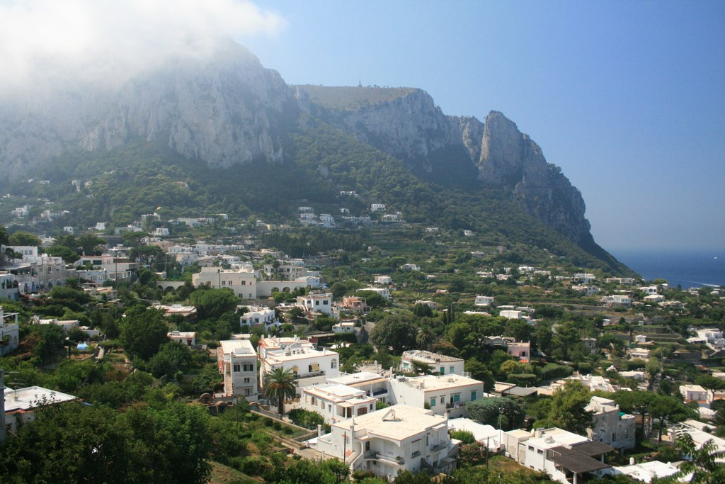 Capri as seen from the funicular.