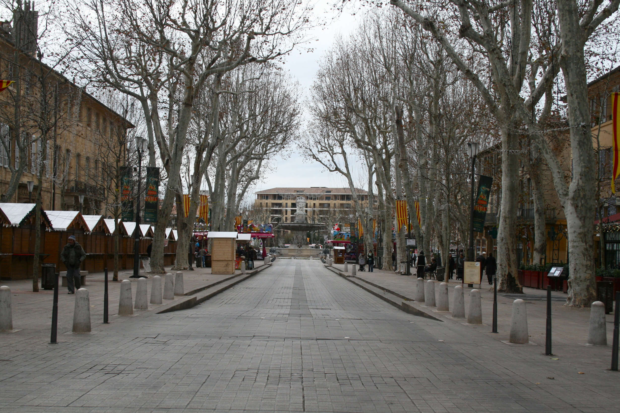 Cours Mirabeau, Aix's version of the Champs-Élysées. I find it slightly ironic that the Christmas market was closed on Christmas.
