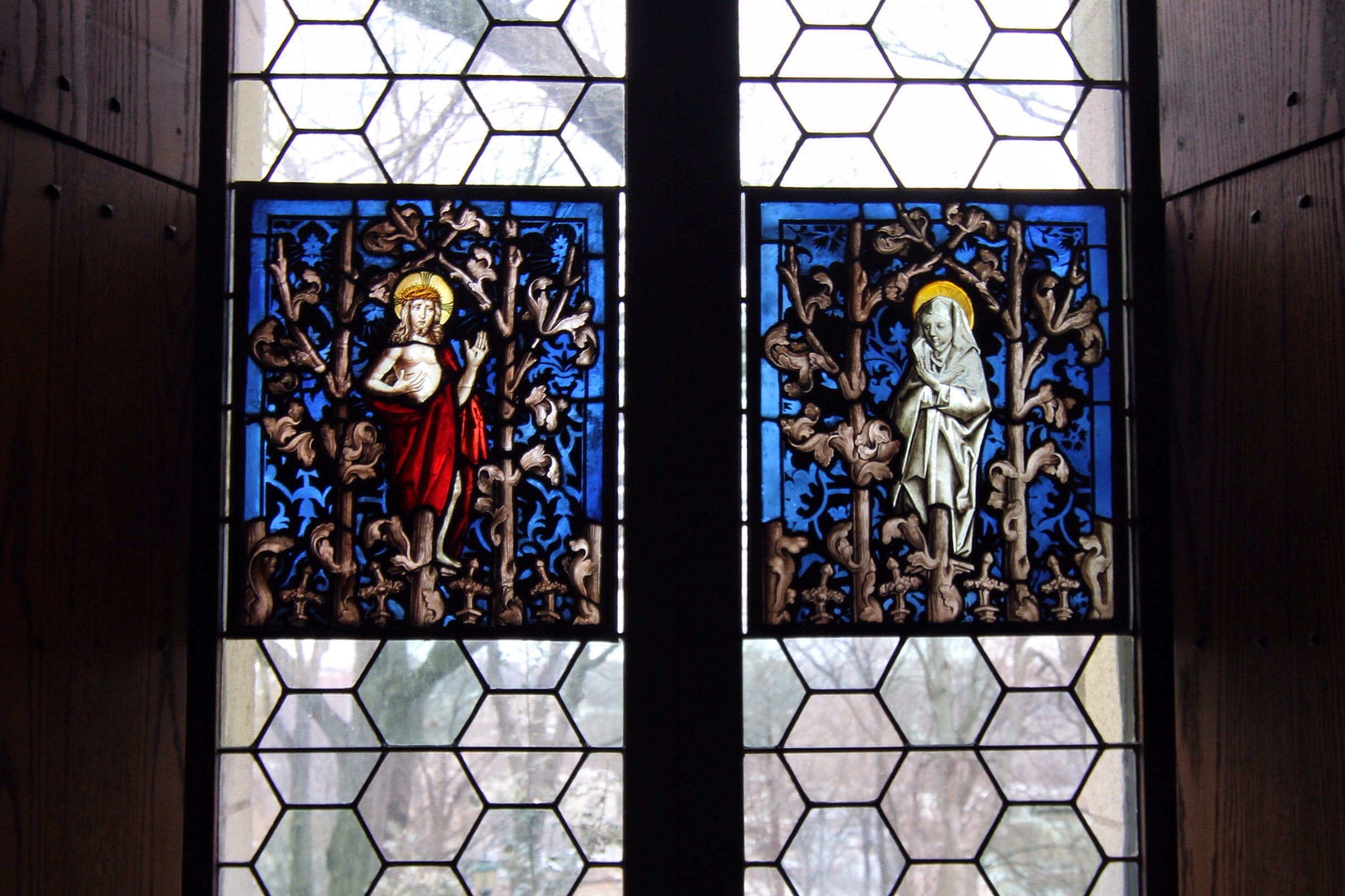 Stained glass at the Cloisters.