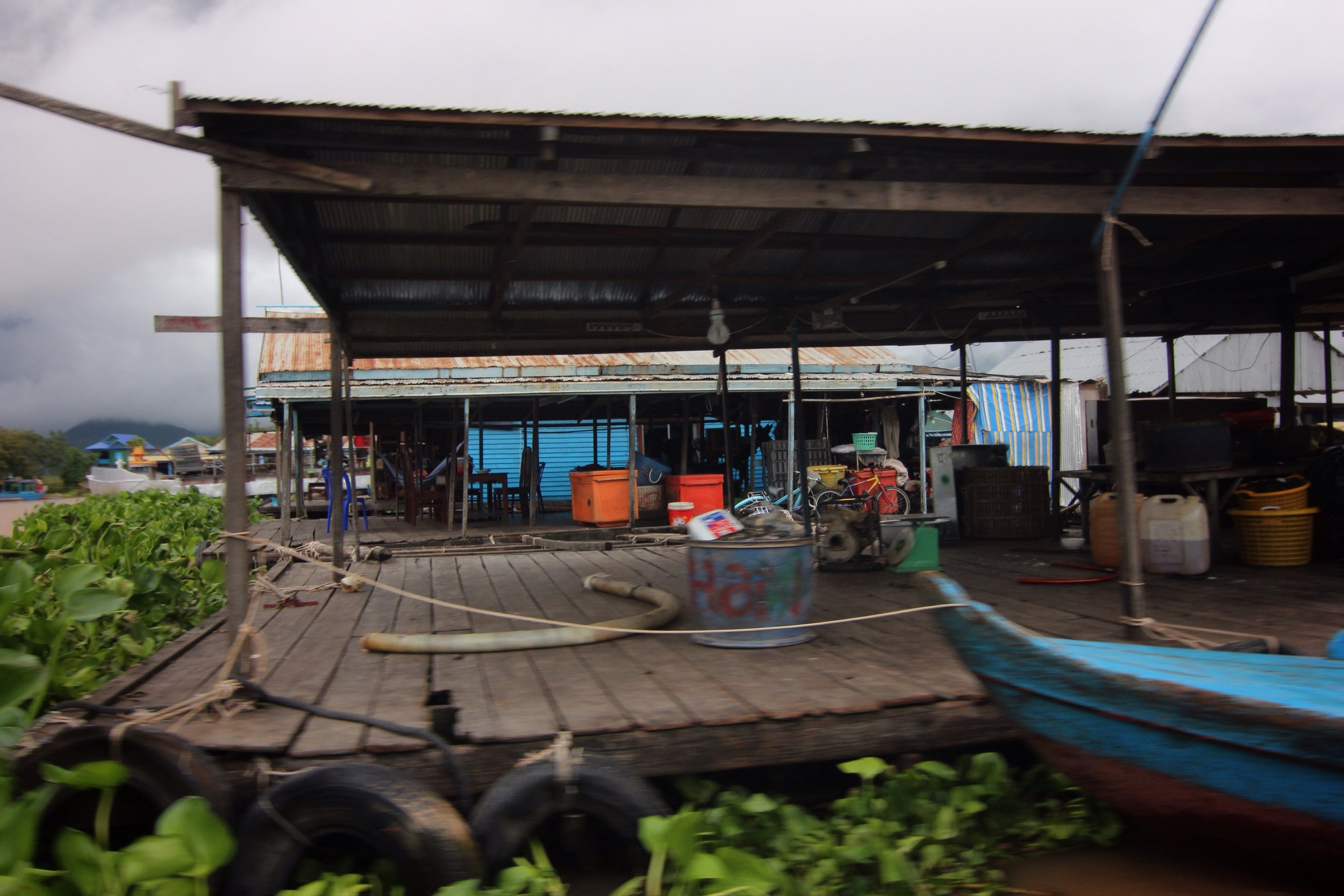 A scene from Chnok Tru, one of the largest floating villages on the Tonle Sap River.