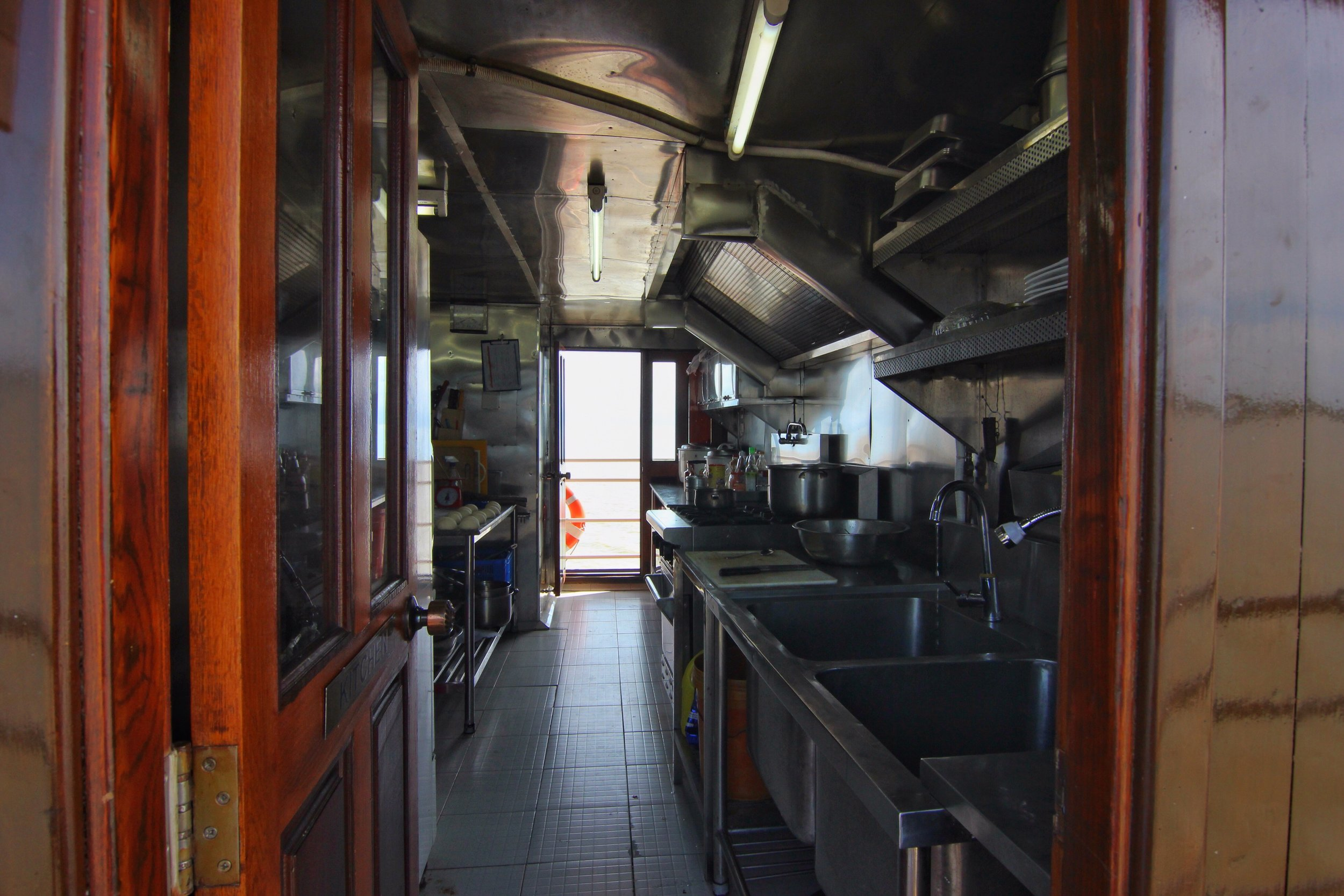 The kitchen, where our awesome staff churns out delectable multi-course meals.