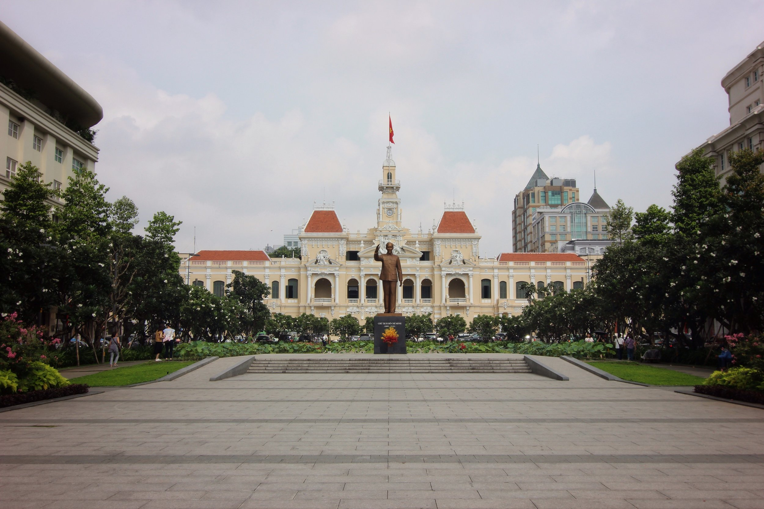 City hall, with statue of Ho Chi Minh.