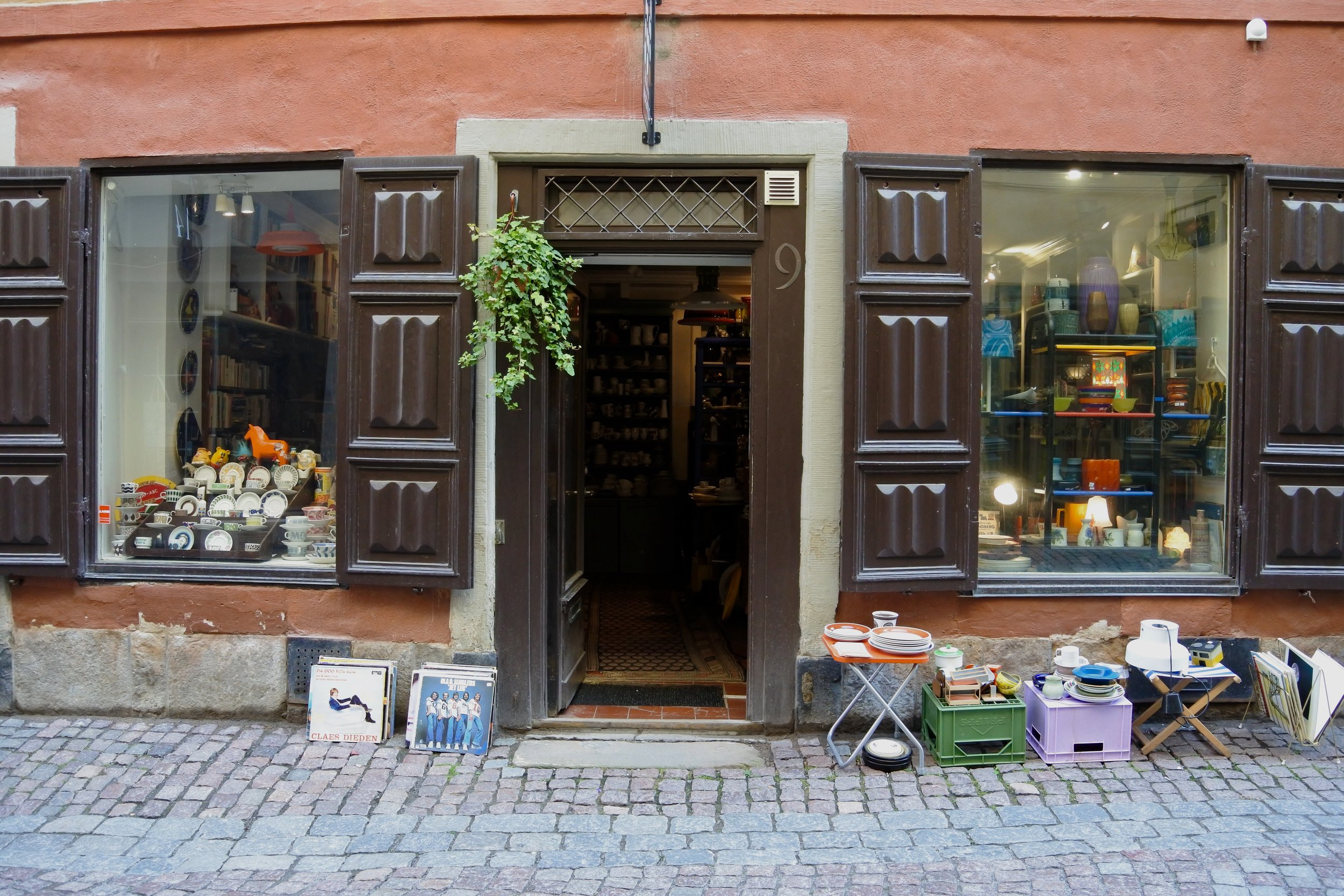 One of many antique shops in Gamla Stan (old town).