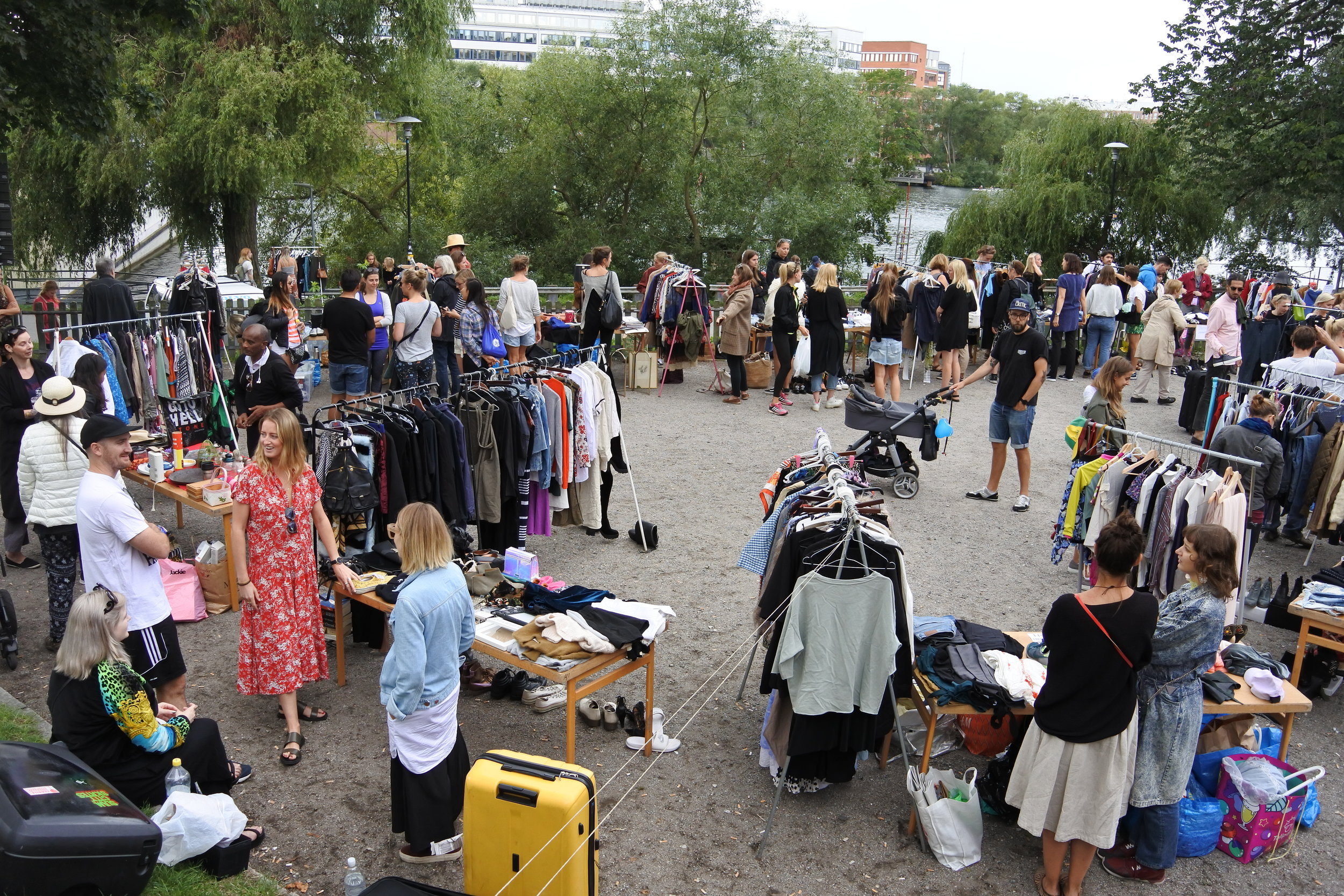 Clothing vendors at Hornstulls Marknad.