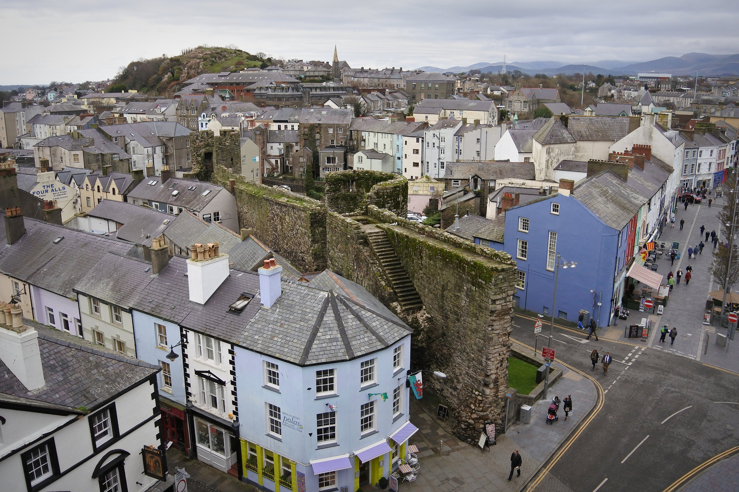 View of Caernarfon from the castle.