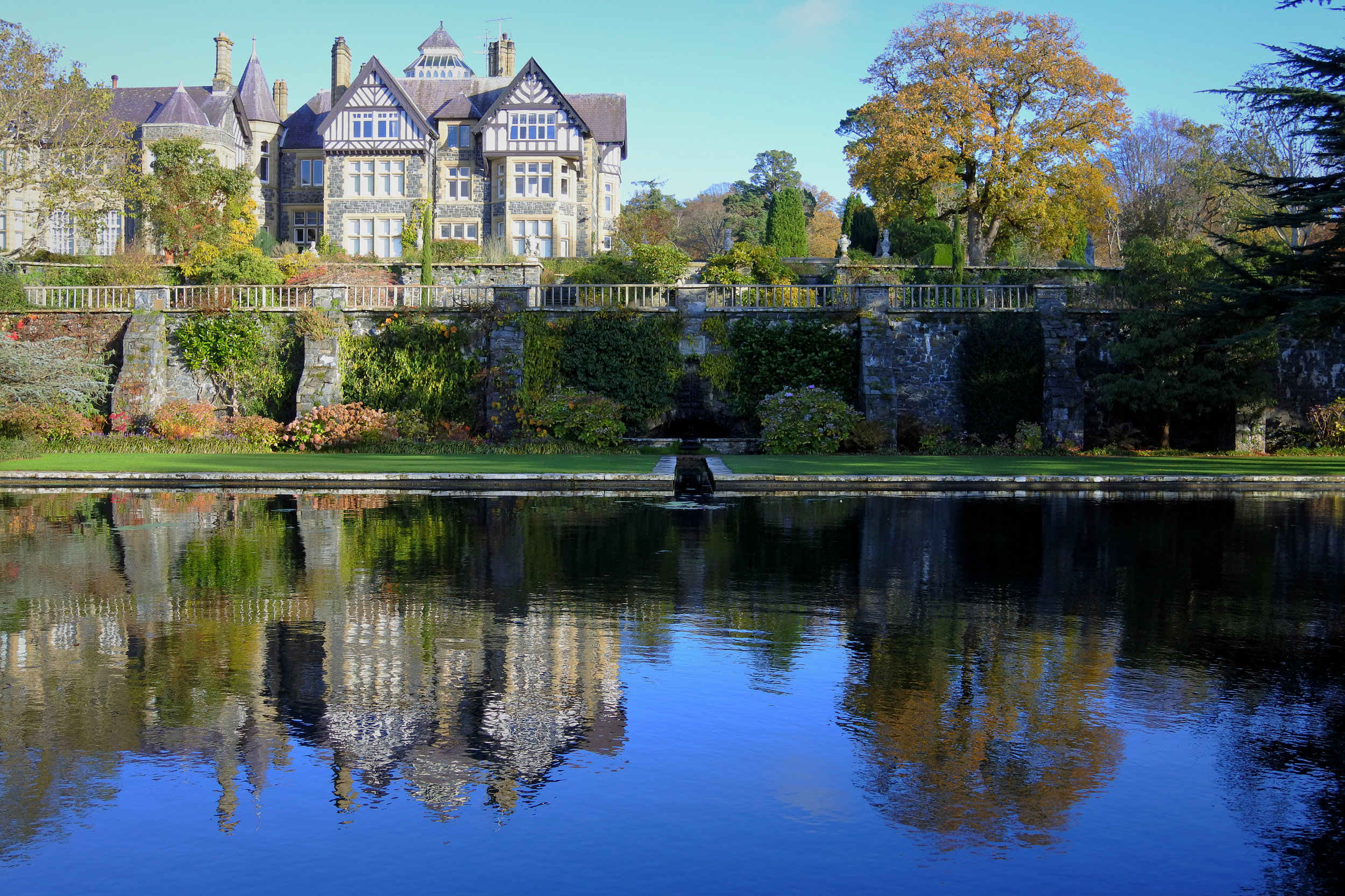 Manor (still privately owned) and pool at Bodnant Garden.