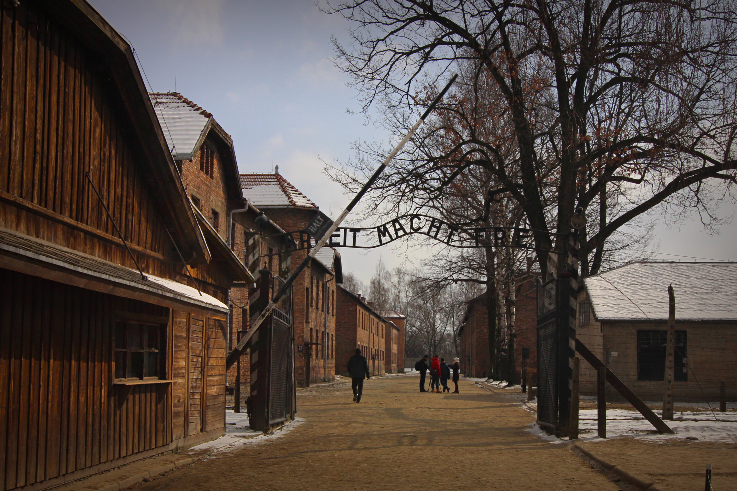 The iconic gate at Auschwitz.
