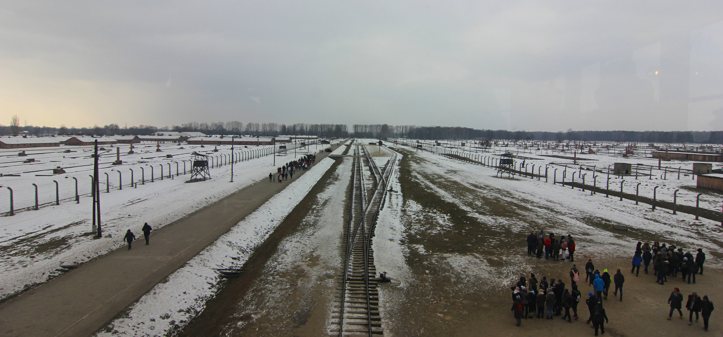 View of Auschwitz-Birkenau from the guard tower.