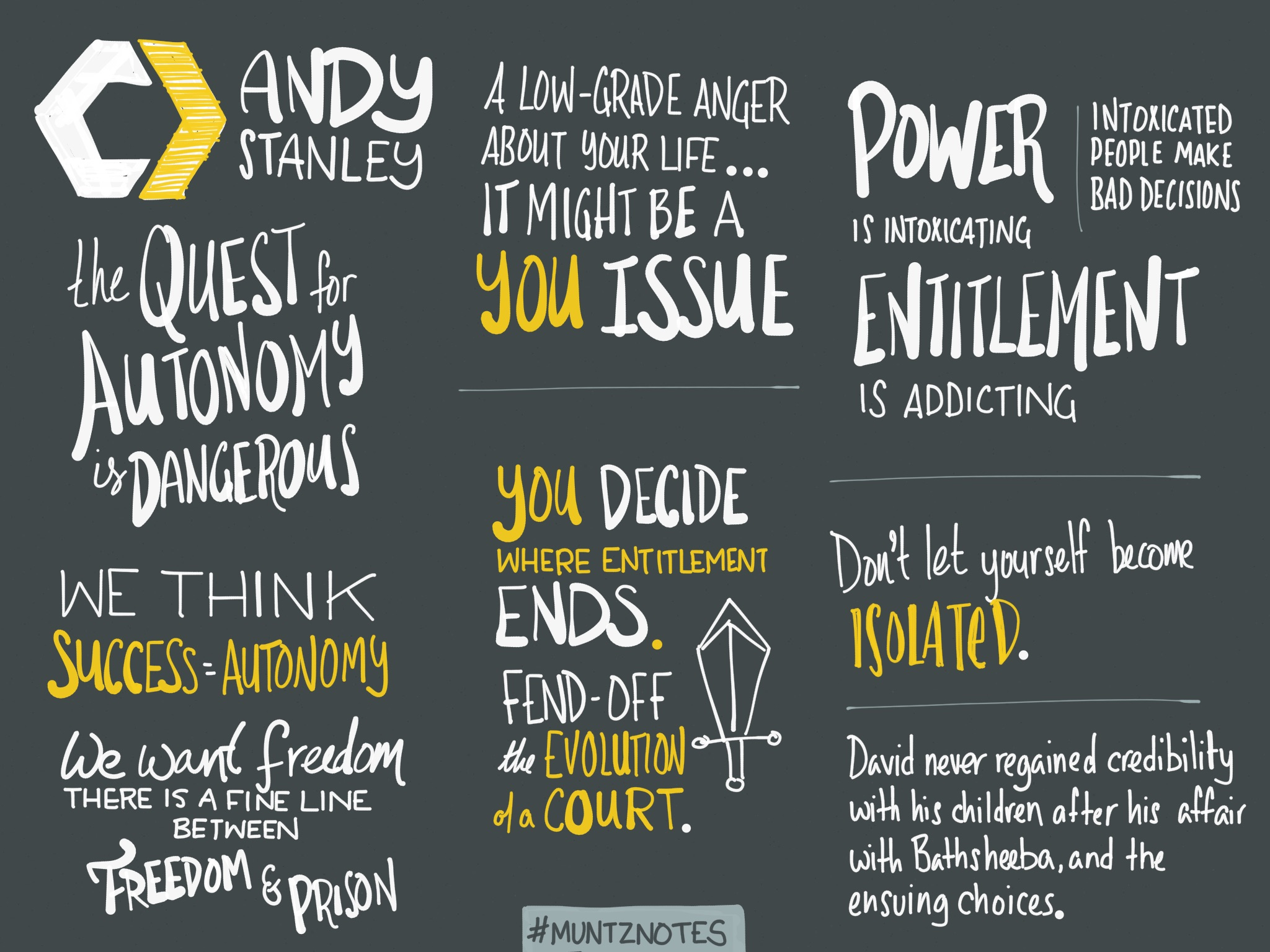 Notes from Andy Stanley's Session Three talk at Catalyst One Day.