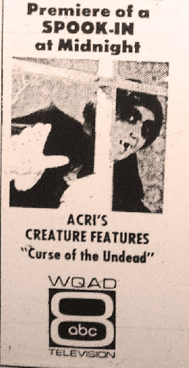 "A newspaper ad for a special ""Spook-In"" edition of the Creature Feature."