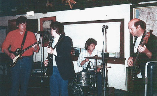Ready Steady Go playing at Whale's wedding in 1993 (a week before I moved to New York.) From left: Bob Miller, Jon Hill, Ken Blair and Steve Jones.