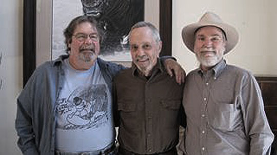 Old friends, from left: Mike Foster, Tim Slevin and Jim Croegaert.   Photo by Nancy Slevin.