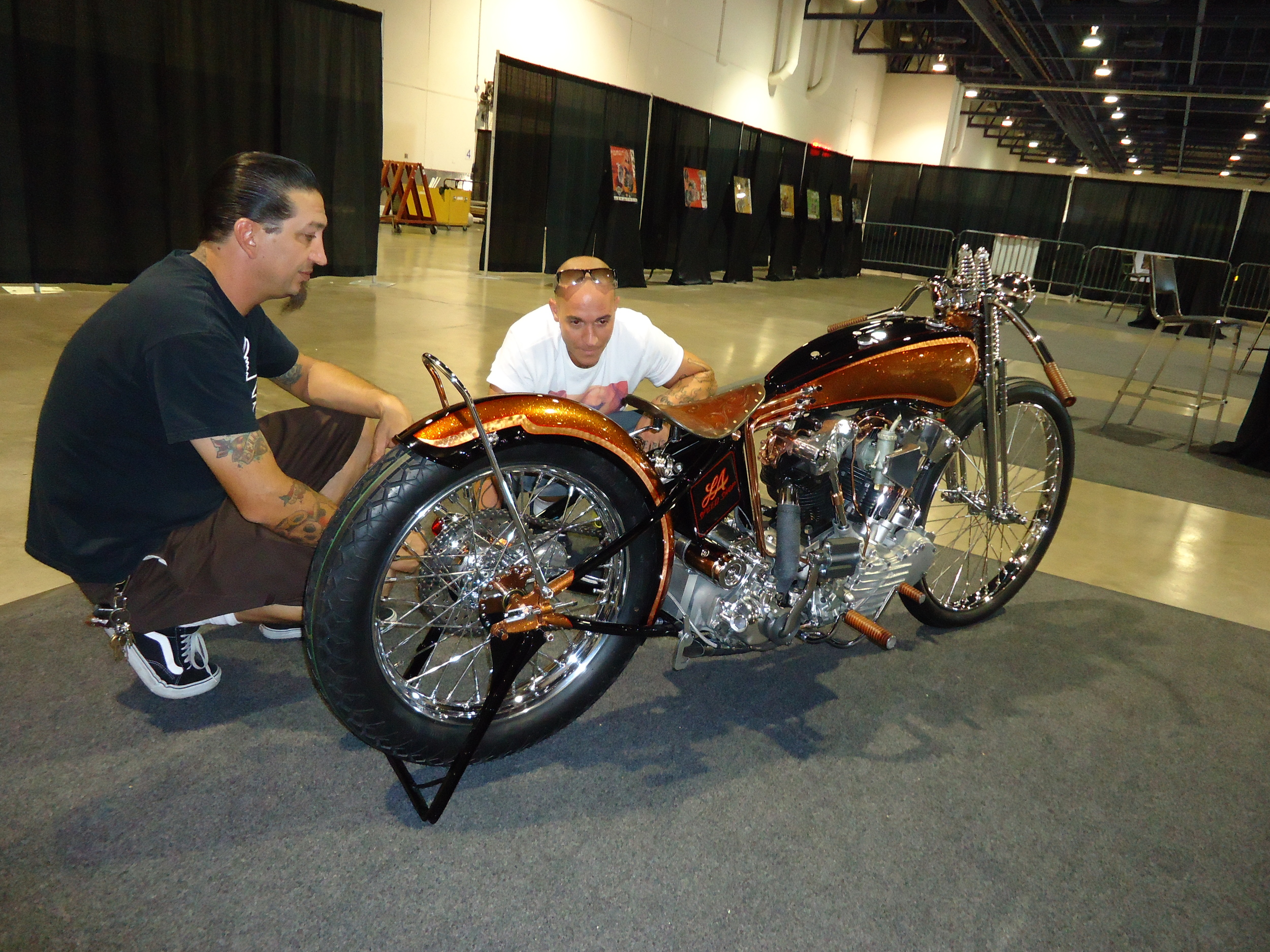 Chris & buddy Danny Schneider checking out the bike