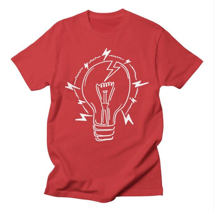 Lightening Bulb Logo // Red - $20