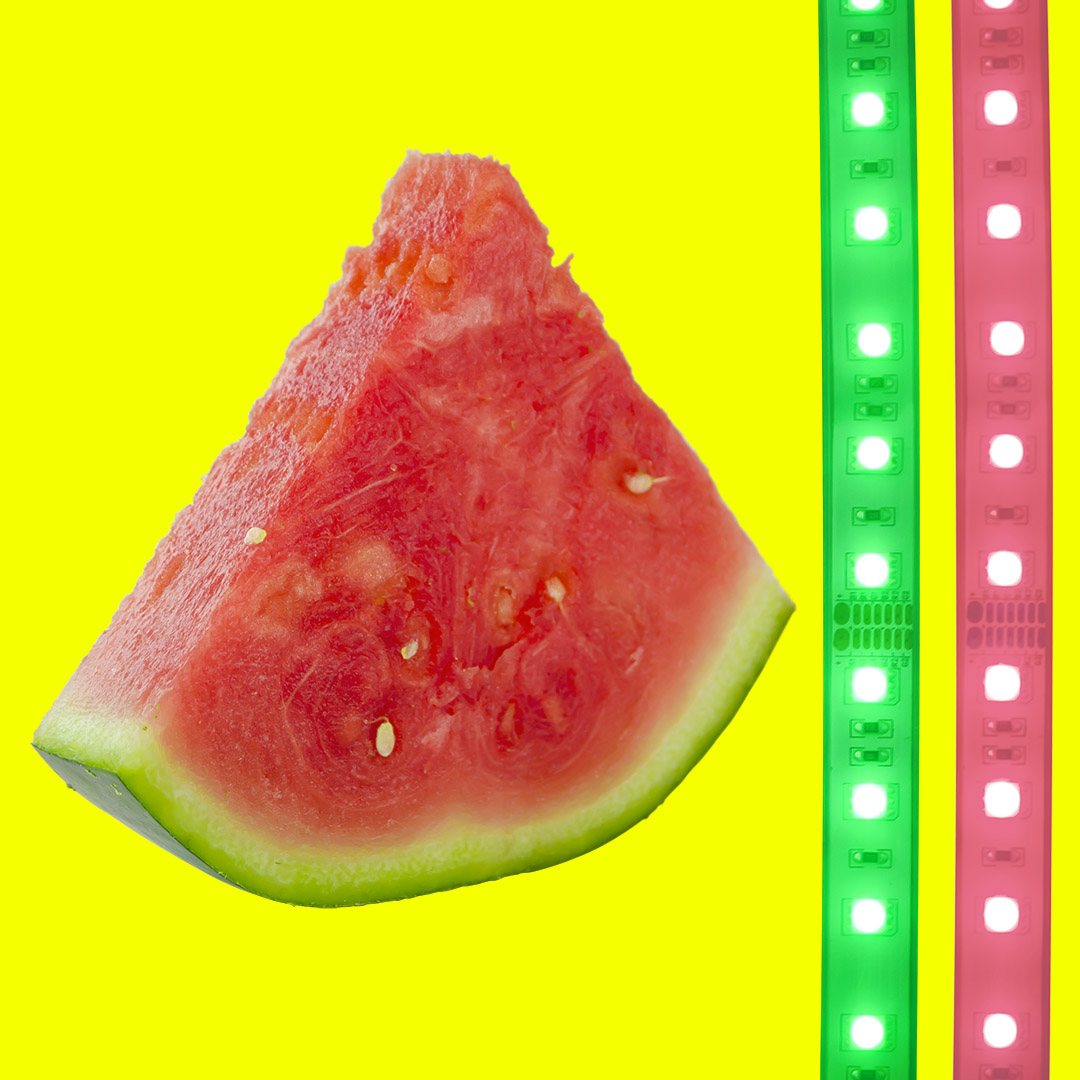 Watermelon with RGB multicolor LED light strips by HitLights