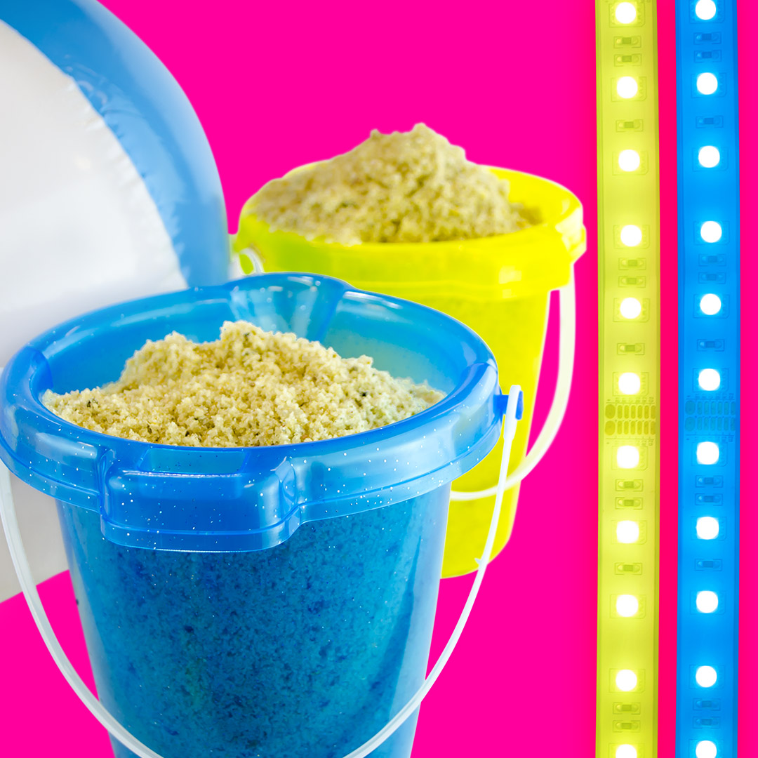 Sand castle buckets pails with RGB multicolor LED light strips by HitLights