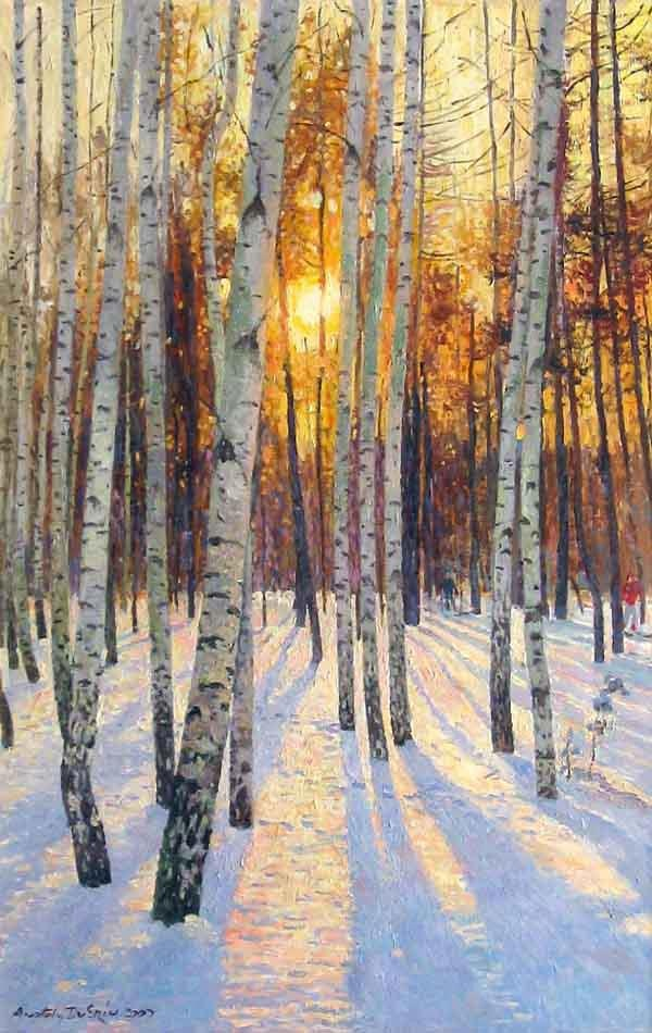 Sunset in a Birch Grove by Anatoly Dverin Russian-born.jpg