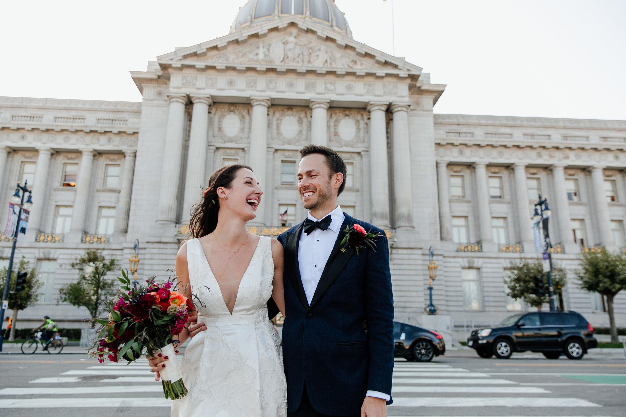 Laid back city hall wedding