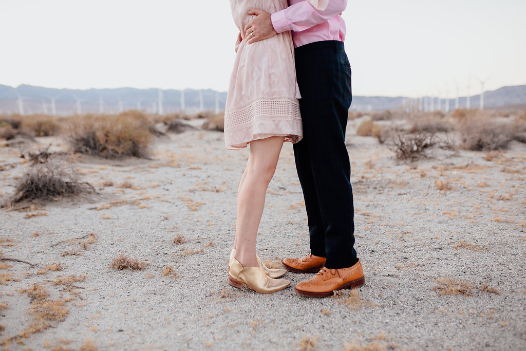 A funky and vibrant engagement session in the wind farms of Palm Springs.