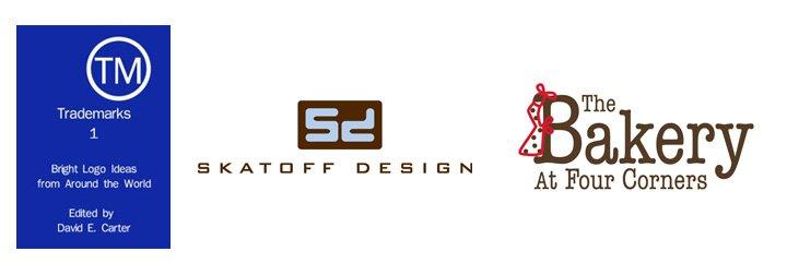 "Left: ""Trademarks 1"" eBook cover   Center: Skatoff Design logo  Right: The Bakery At Four Corners logo"