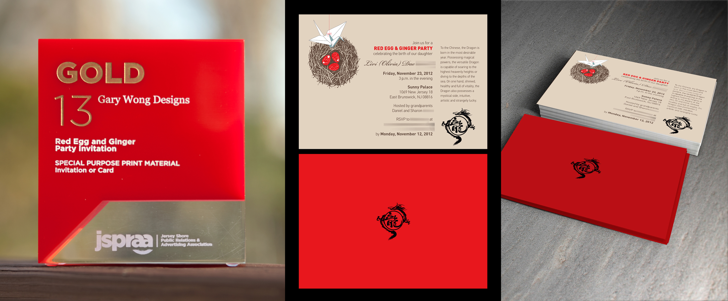 Client: Self, Red Egg + Ginger Party Invitation Category: Special Purpose Print Material, Invitation or Card