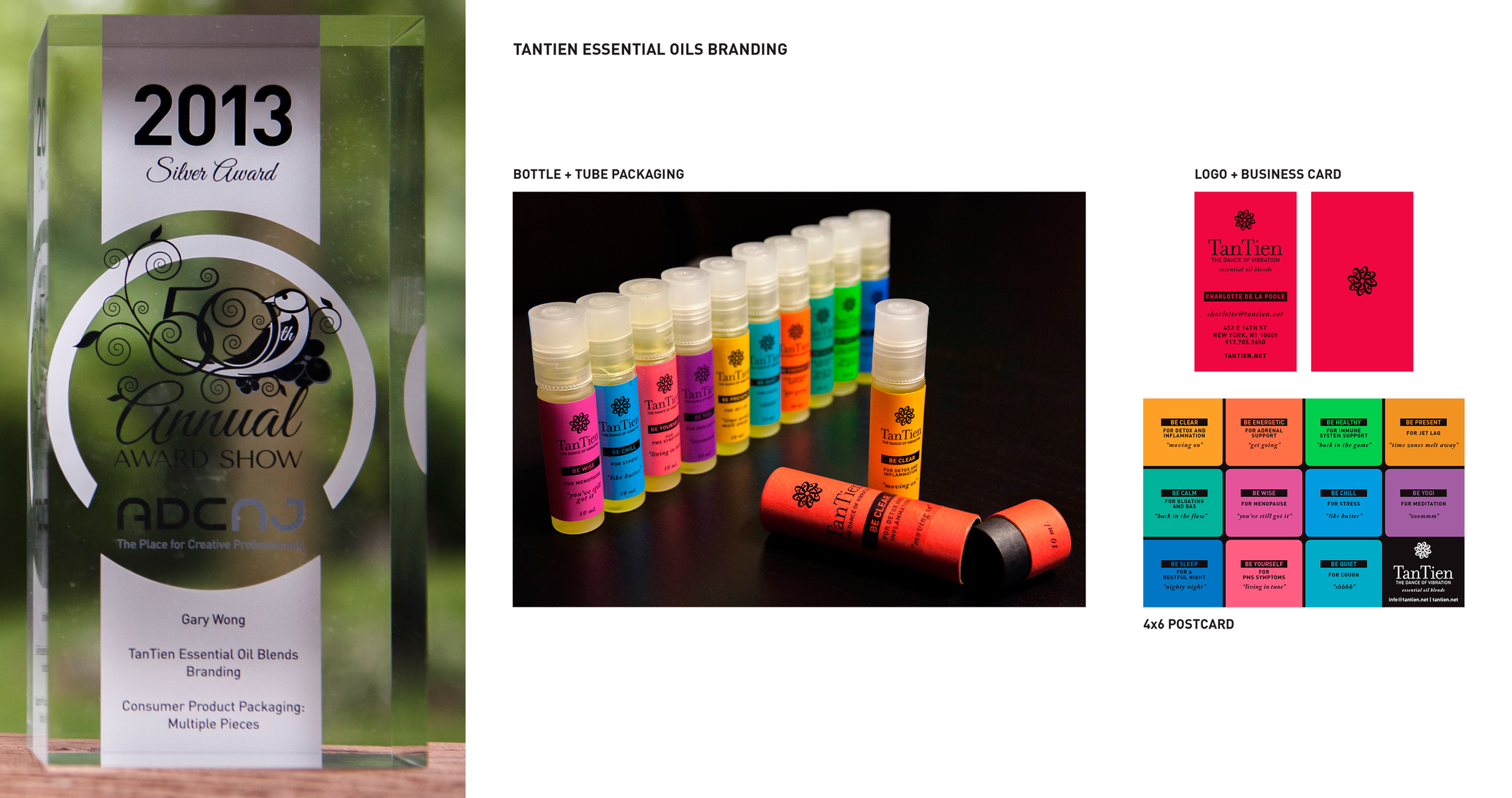 """TanTien Essential Oil Blends Branding takes a Silver in the category of """"Consumer Product Packaging: Multiple Pieces"""""""