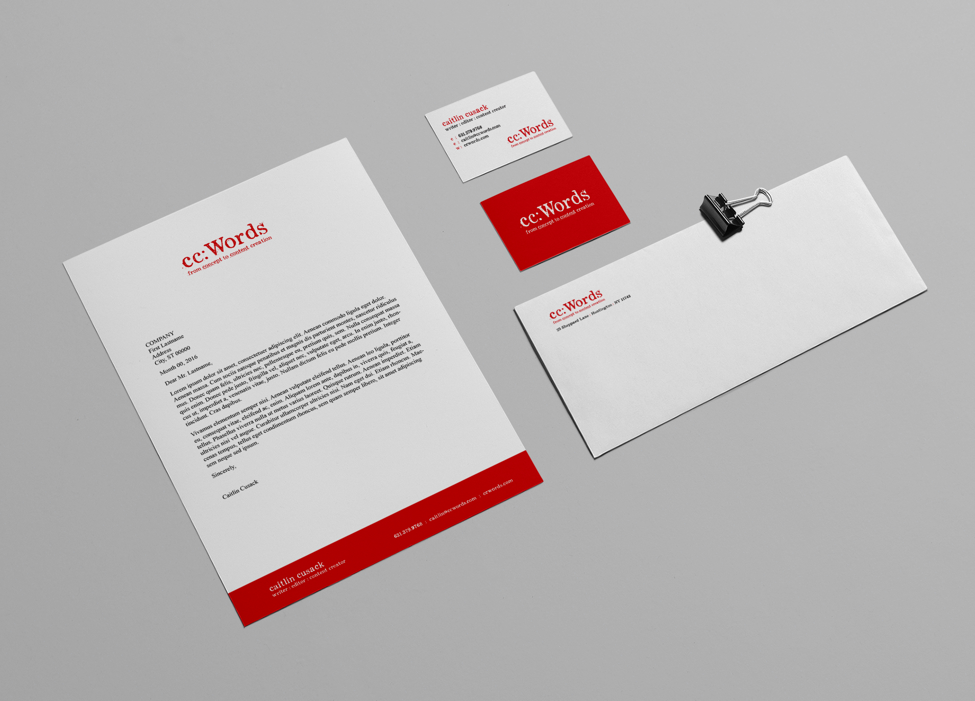Client: cc: Words Category: Identity: Stationery Package