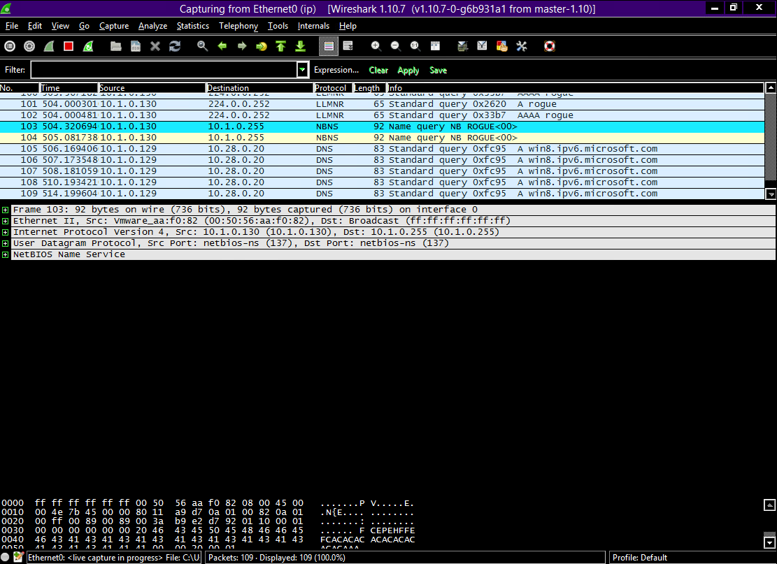 We now use the well-known protocol analyzer Wireshark to set up sniffing on the comm. between the client and the server. As this picture shows, we get a detailed overview over the communications between the two.
