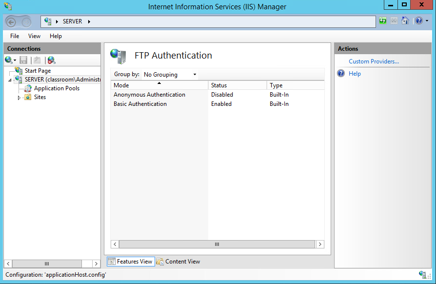 Concluding telnet is not the way to go, I continue researching FTP. Here I set up the ftp server and site on the server.