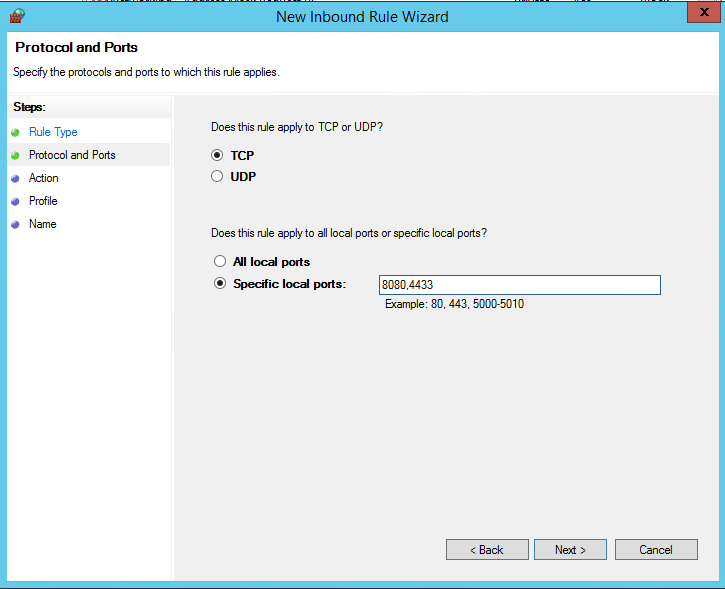 In windows firewall, I allow for inbound requests on specific ports.