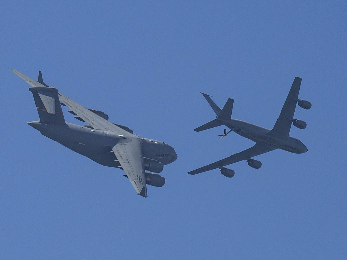 USAF Boeing C-17A Globemaster III and KC-135-KC-A Stratotanker