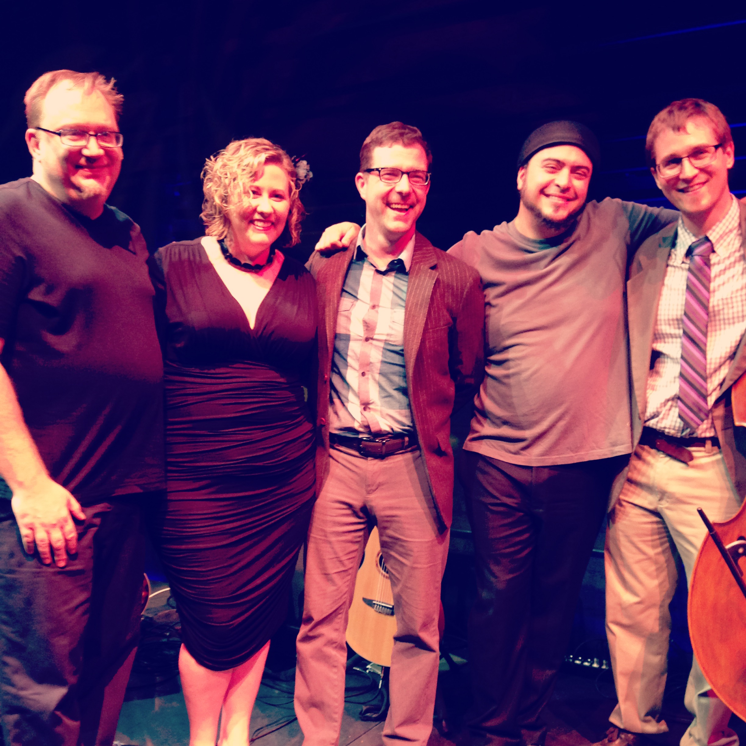 L to R: Andy Hall, Me, Sean Parsons, Ryan Kennedy, and Steve Heffner after our Stage Door Cabaret gig at Peoples Bank Theatre, April 23, 2016