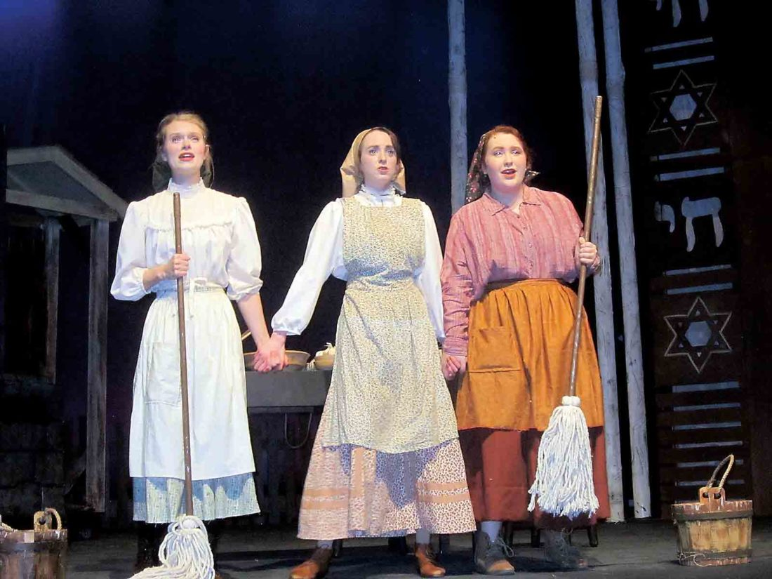 Edain Campbell, Charis Mace, and Sophia D'Eramo - Edain Campbell (Chava), Charis Mace (The Fiddler, Ensemble) and Sophia D'Eramo (Shprintze) are in the Actors Guild of Parkersburg's production of Fiddler on the Roof March 9-11 and 16-18. Get tickets here. Photo by Wayne Towner