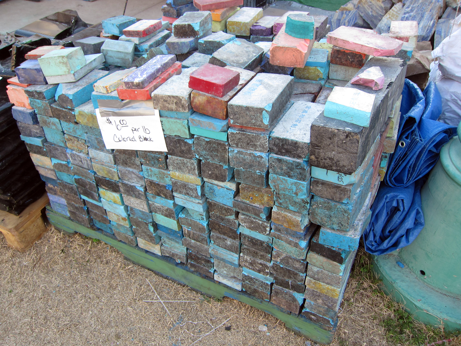 "A pile of colorful bricks. Can you imagine a ""brownstone"" in Brooklyn constructed out of these? Would be rather funky!"