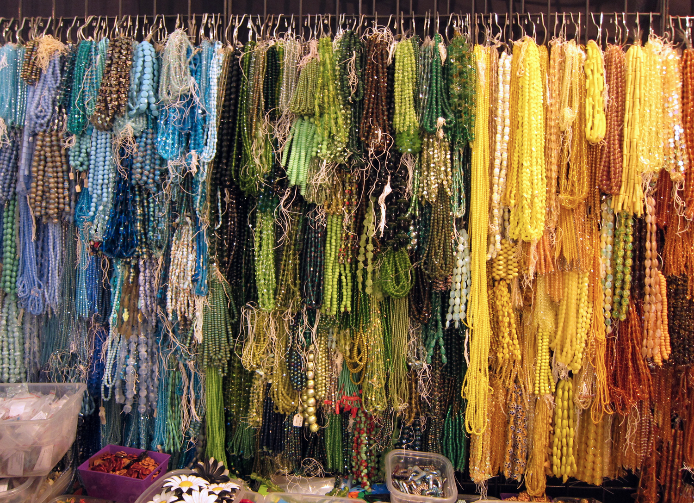 Blue beads, green beads, yellow beads...