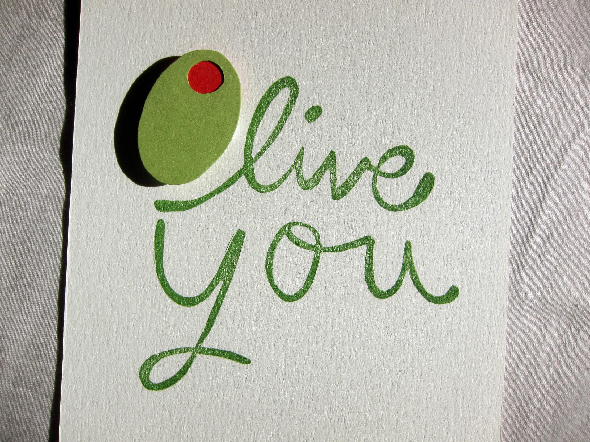 "Handmade ""Olive You"" card."
