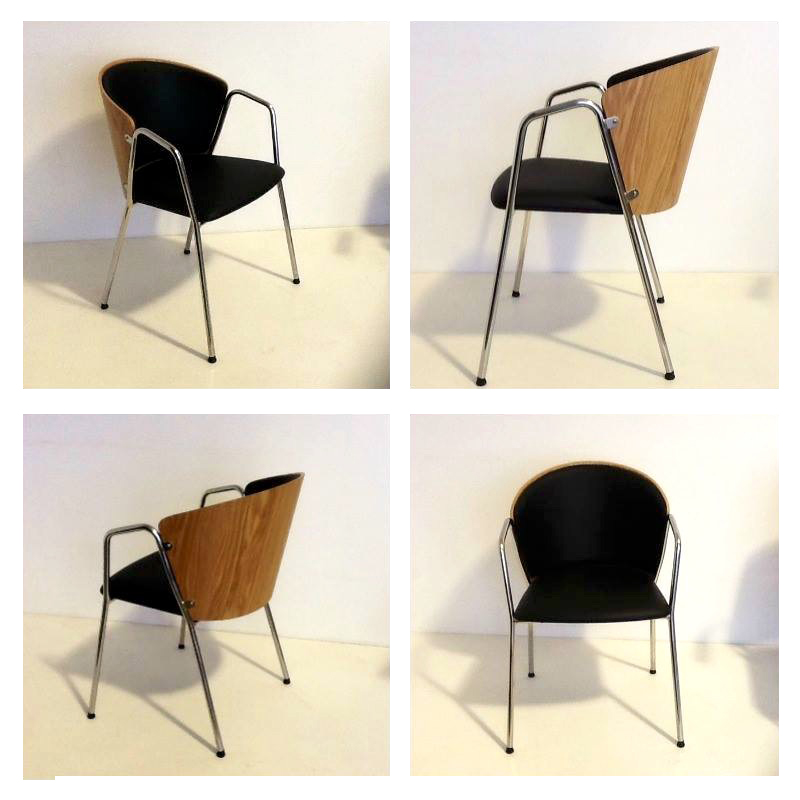 """Bogi"" chair in black leather"