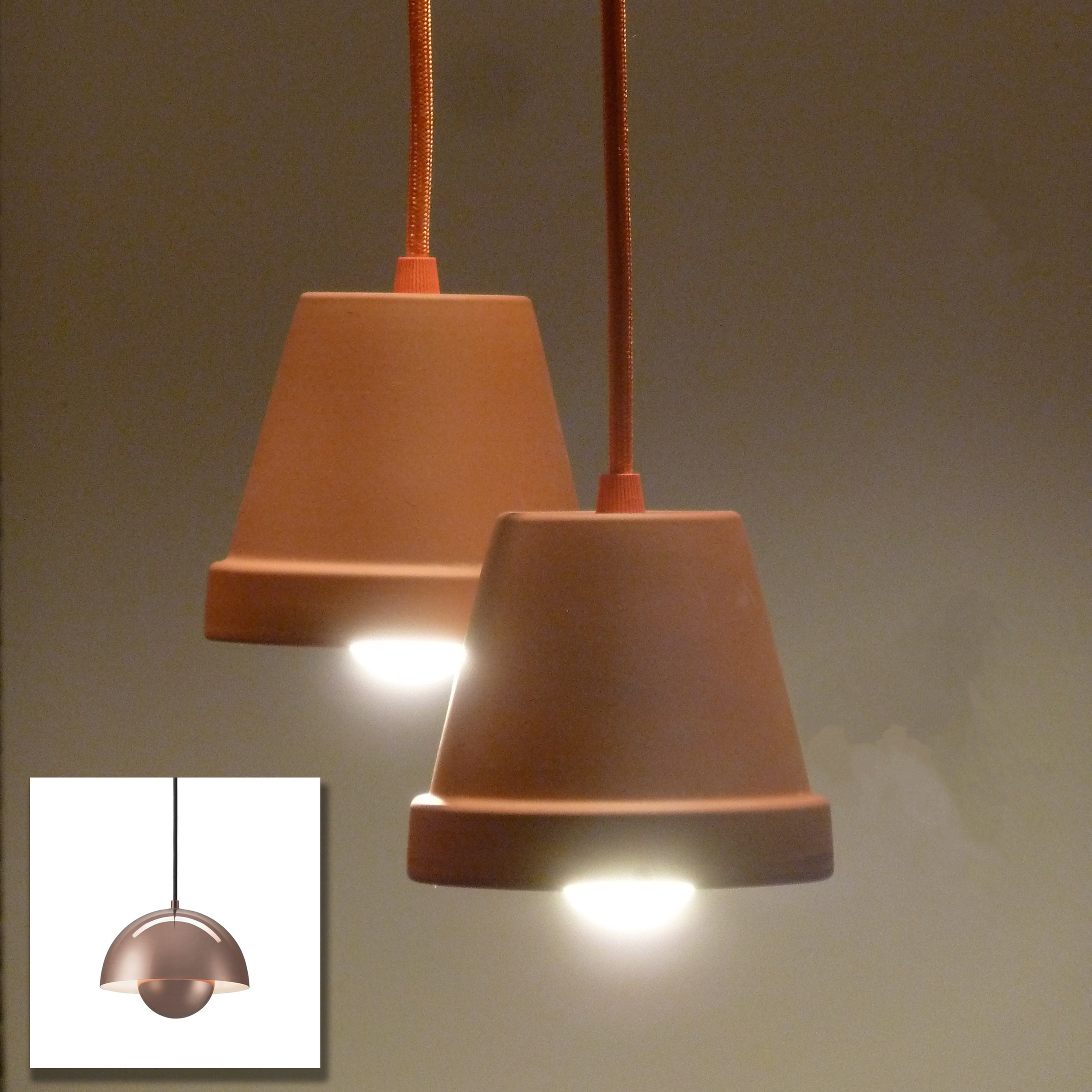 Home made flower pot lamps and the real thing