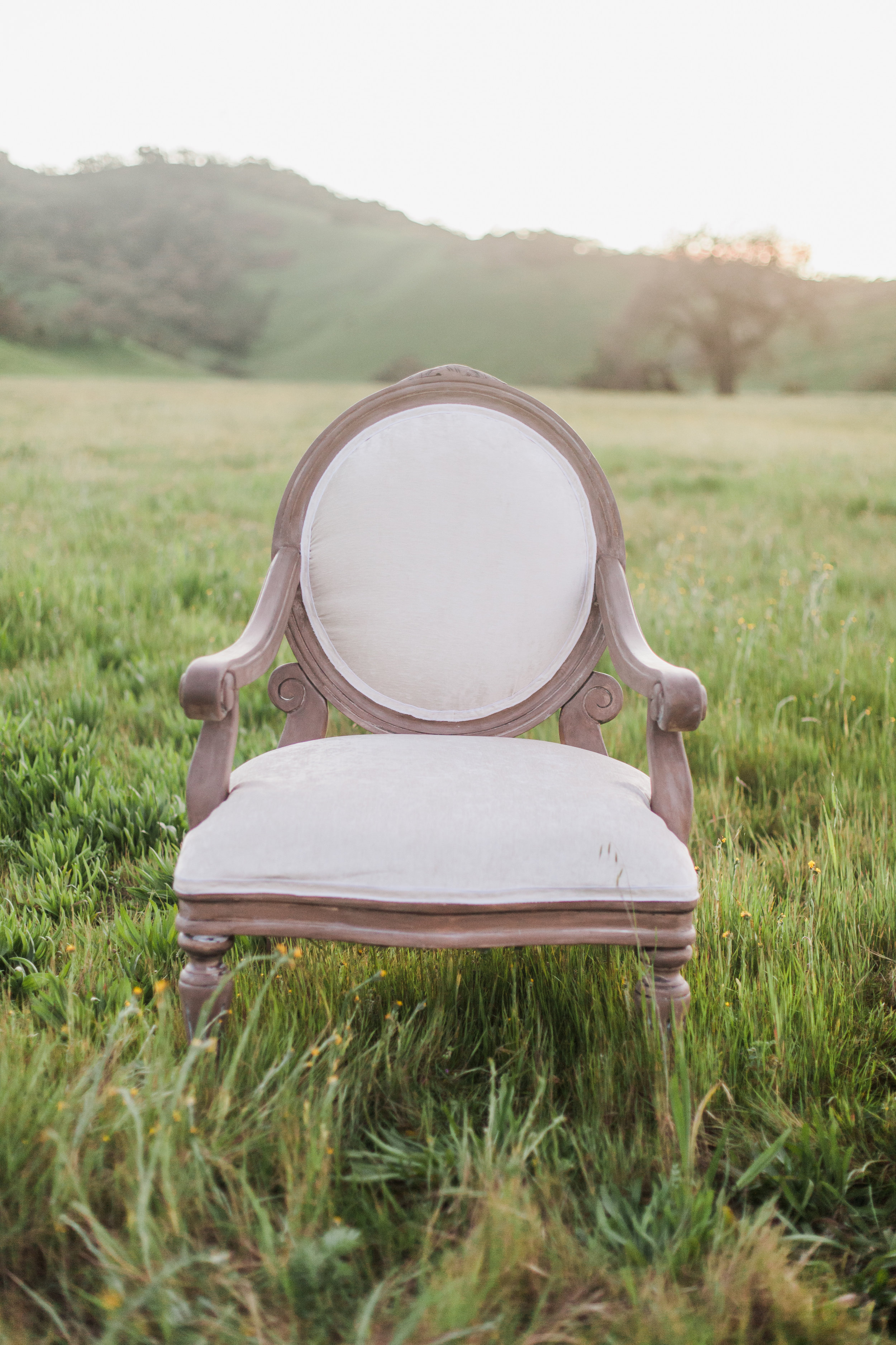 Vintage chair in a grass field during maternity session in San Jose, California.