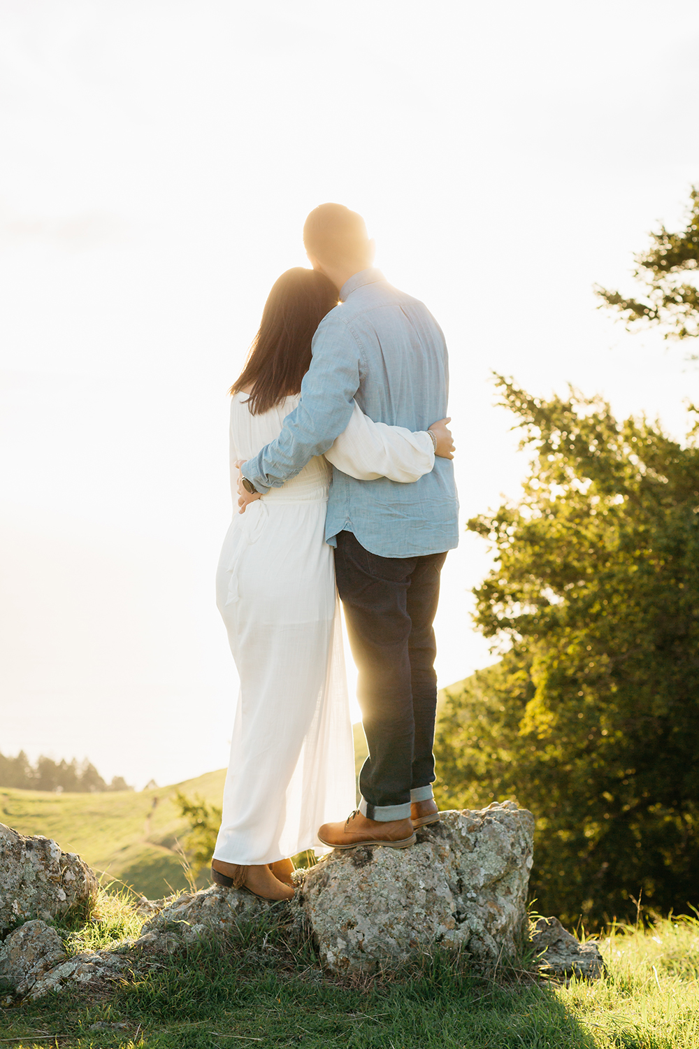 Golden hour portrait of couple during their engagement session in Mount Tamalpais in Marin, California.