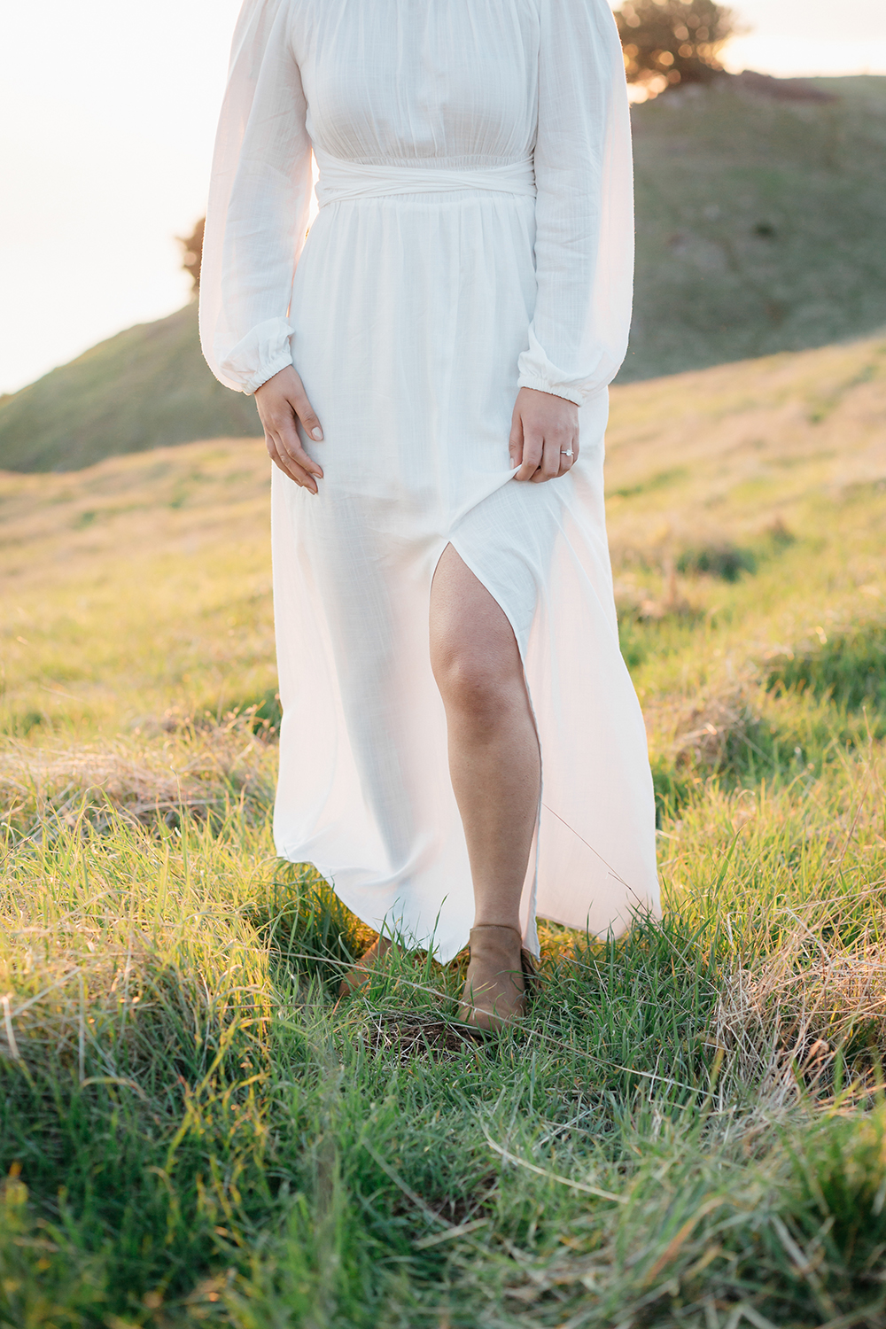 Golden hour portrait during sunset engagement session in Mount Tamalpais in Marin, California.