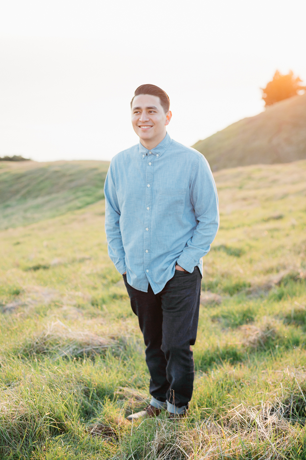 Golden hour portrait of a boy during a sunset engagement session in Mount Tamalpais in Marin, California.