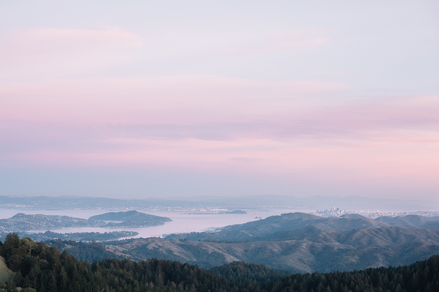 Skyline view of the San Francisco Bay Area from Mount Tamalpais in Marin, California.