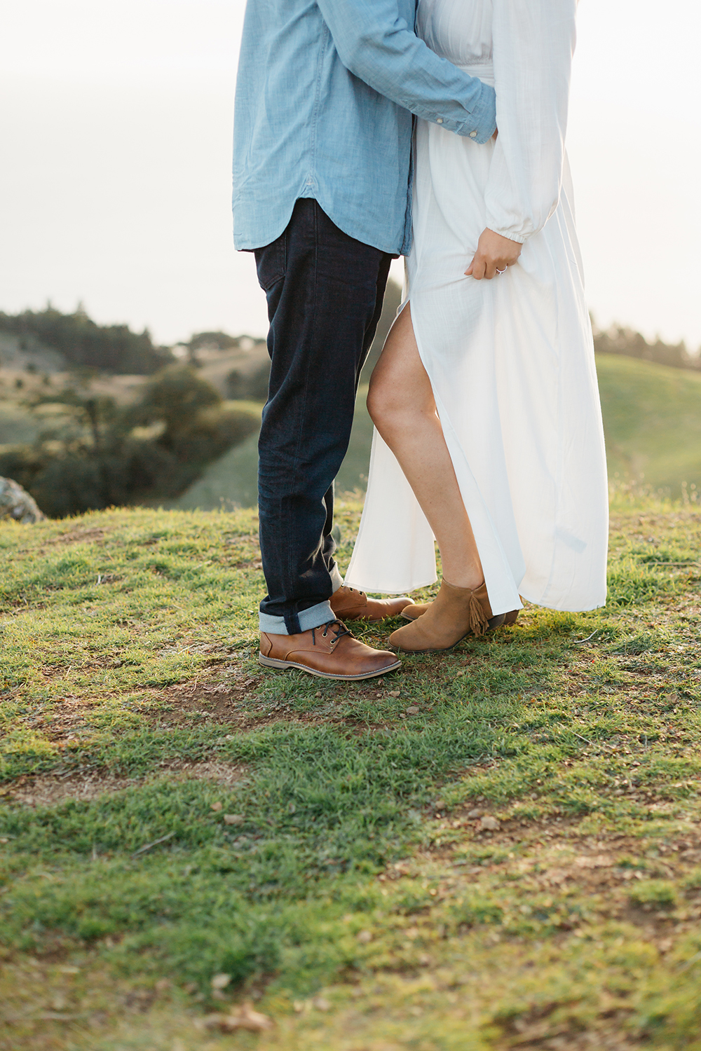 Portrait of couple during their engagement session in Mount Tamalpais in Marin, California.