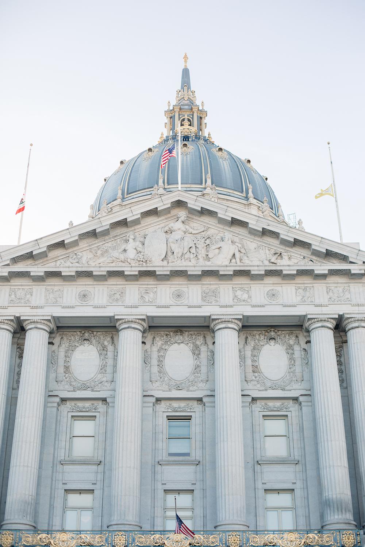 Entrance to San Francisco City Hall during a wedding.