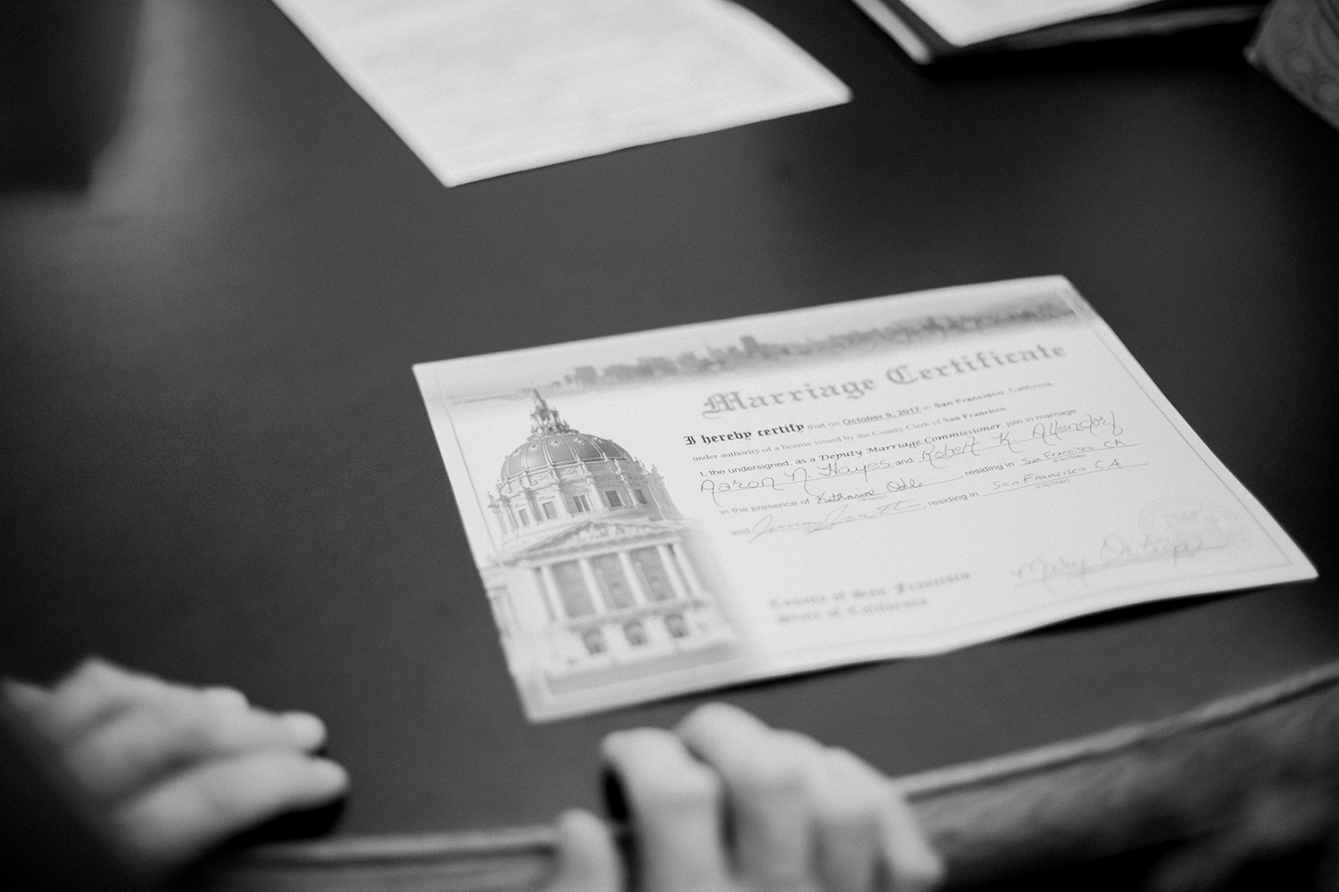Marriage certificate from San Francisco City Hall.