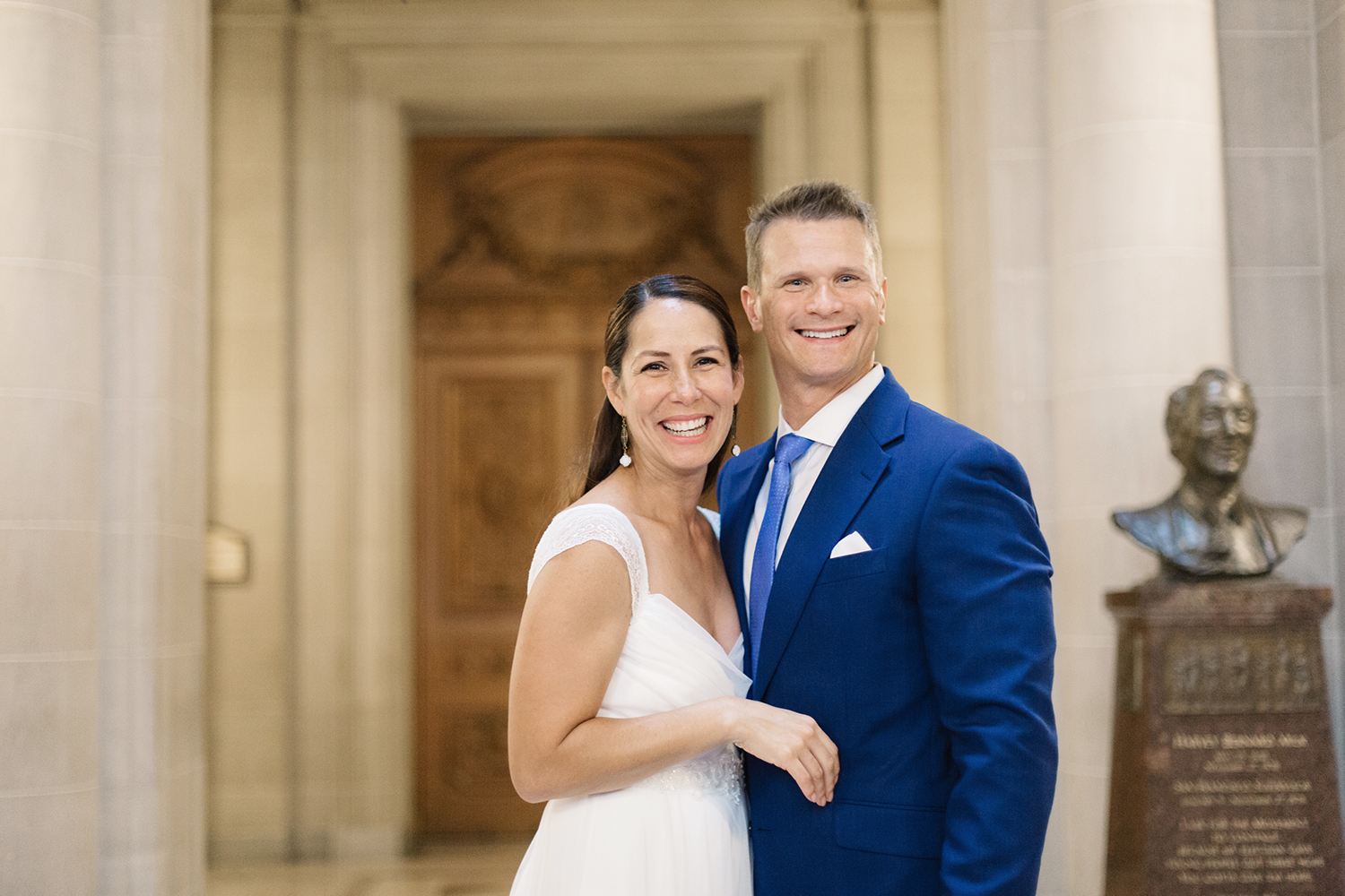 Bride and groom married in San Francisco City Hall.